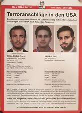 5 ORIGINAL 9/11 wanted posters Attentäter Terror Anschläge 11. September 2001