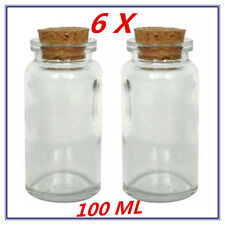 6 x Mini/Small Lolly/Candy DECORATIVE Glass Jar Bottle w/h Cork Lid - 100ml - AP