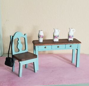 New DOLLHOUSE DESK Writing Console  and chair, 1:12 Scale, ornaments
