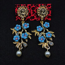 Betsey Johnson Hot Fashion Lovely Enamel Gold Pearl Flower Wonmen Earrings Gift