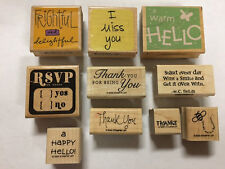 Lot 10 Rubber Stamps For Greeting Cards Thank Miss You Hello Rsvp Quotes