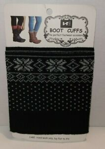 Women's Patterned Navy Blue Boot Cuff, The Perfect Footwear Accessory