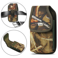 REIKO Camouflage Vertical Rugged Canvas Belt Clip Case Pouch Loops for ZTE Phone