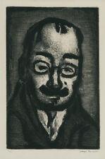 A fine rare original etching by Georges Rouault, Le Directeur du Theatre, signed