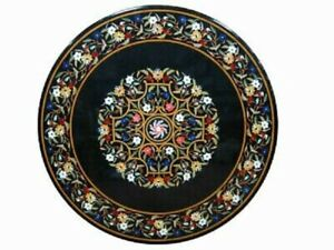 "36"" Marble Dining Table Top Inlay Rare Semi Round Center Coffee Table AR0846"