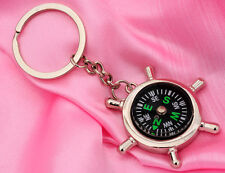 Portable Rudder Keychain Ring Precise Compass Camping Hiking Hunting Black New