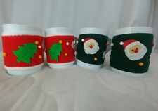 CHRISTMAS COFFEE Mug - Ugly sweater Lot of 4~NEW Threshold Stoneware