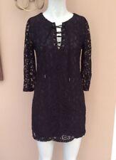Abercrombie & Fitch Tie Up Front Lace Dress Size XS 6 8 Floral Mini Lattice Top
