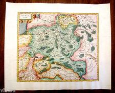 1595-1633 Mercator Map of Lithuania Original Copper Engraving Poland Ukraine
