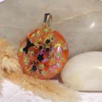 Handmade Dichroic Glass Pendant Necklace Women's Jewellery Golden Hummingbird