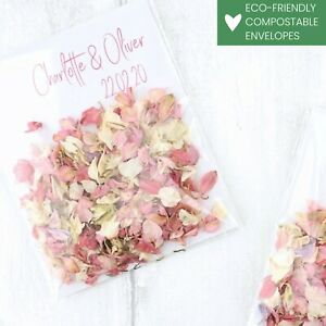 Boho Chic Envelopes with Luxury Wedding Confetti Real Dried Petals Eco-friendly