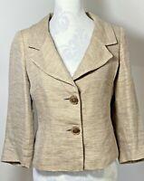 Planet Size 10 Beige Brown Short Suit Jacket Blazer Linen 2 Button Smart Smart