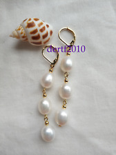 10-12mm Natural South Sea White Pearl Earrings 14k Gold