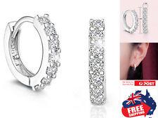 Silver Huggies Earrings Ear With CZ Body Piercing Hoop Ring Party Jewellery 1pc