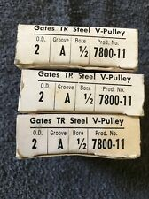 Lot Of 3 Gates TR Steel V-Pulley 2 O.D. A Groove 1/2 Bore 7800-11