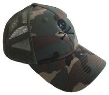 Skull & Crossbones Mid Profile Mesh Trucker Cap Caps Hat Woodland Camo Black