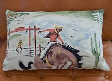 "Western Barkcloth Pillow Cover ""Rodeo"" 50's Cowboy Bronco Rodeo Zipper Lumbar"
