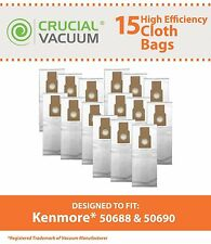 15 Replacements Kenmore HEPA Style Vac Cloth Bags Part # 50688 20-5068 20-50681