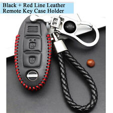 Black + Red Real Leather Remote Key Bag Case Holder Cover Protector for Nissan