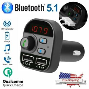Bluetooth Car FM Transmitter MP3 Player Wireless AUX Radio Fast 2 USB Charger X8
