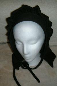 "Pa. Dutch Bonnet Amish Handmade Women's Black Outer Bonnet Hat 19"" Ear to Ear"