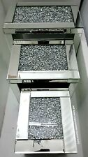 Sparkly Diamond Crush Crystal Silver Mirrored Glass Nest Of 3 Tables Rectangular