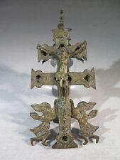 ANCIENNE CROIX EN BRONZE ORTHODOXE RELIQUAIRE CHRIST EN CROIX VIERGE ANGELOTS