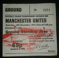 1975/76 ORIGINAL DIVISION ONE  TICKET SHEFFIELD UNITED   v MANCHESTER UNITED