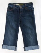 Indigo Palms Dark Blue Stretch Cotton Denim Capri Crop Cuffed Jeans size 4