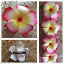 Hawaiian PLUMERIA FLOWER FOAM HAIR CLIP White Yellow Red