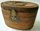 Antique Earlier Chinese Basket Tea Warmer Padded Fabric Lined Brass Hardware