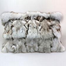 """Nature White Blue Fox Sections Fur Pillow 14""""x 24"""" Fur Cushion Real Fur Throw"""