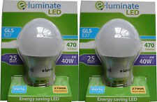 2 x ENERGY SAVING E27 6W GLS GLOBE ROUND LED BULBS - WARM WHITE 2700K SCREW FIT
