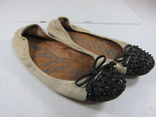 "Sam Edelman ""Beatrix "" Womens Size 6M Cream/Black Spiked Toe Ballet Style Flats"