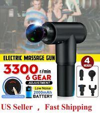 Massage Gun Percussion Massager Deep Tissue Muscle Vibrating Relaxing + 4 Heads