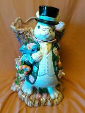 Fitz and Floyd Alice In Wonderland White Rabbit / March Hare Tree Trunk Vase
