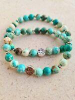 Tree of life Turquoise Healing Bracelet: communication, self-realization,...