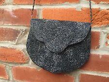 Vintage Delill Beaded Evening Shoulder Bag Purse Gray Chain Strap