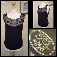 Vintage Laura Ashley Black Hand Crochet Evening Cami Top Size L
