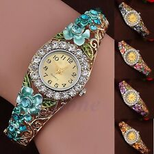 Women's Lady Bracelet Quartz Watch Flower Band Hollow Crystal Analog Hollow Out