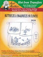 Butterfly & Dragonfly on Flowers #3939 Aunt Martha's Embroidery Transfer Pattern