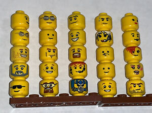 Lego Minifigure Head Lot of 25 Face Pieces  Single Sided Expression Parts People