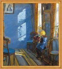 Sunlight in the blue room Anna Ancher Stricken Fenster Kind Mädchen B A1 00527