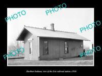 OLD LARGE HISTORIC PHOTO OF HURLBURT INDIANA, ERIE RAILROAD STATION c1910 2