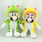 "2X Super Mario 3D World Character Cat Form Mario Luigi Plush Toy Soft Doll 9"""