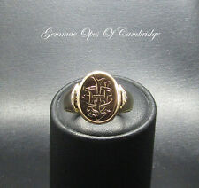 Vintage 18ct Gold Engraved Gents Signet Ring Size Q 1/2 9.5g