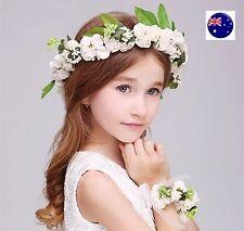 Women Flower Girl Fairy wedding Bride Hair Headband Crown Prop Garland+ bracelet