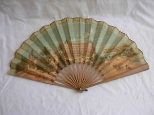 ANTIQUE FRENCH WOOD PRINTED PAPER ADVERTISING FAN,MONTE CARLO