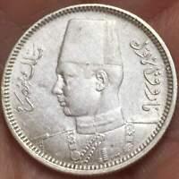 1937 (AH 1356) EGYPT 2 PIASTRES KING FAROUK .833 SILVER **XF**  COIN  LOT #4