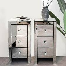 Pair of bedside tables with Mirrored units cabinet crystal Handles three drawers